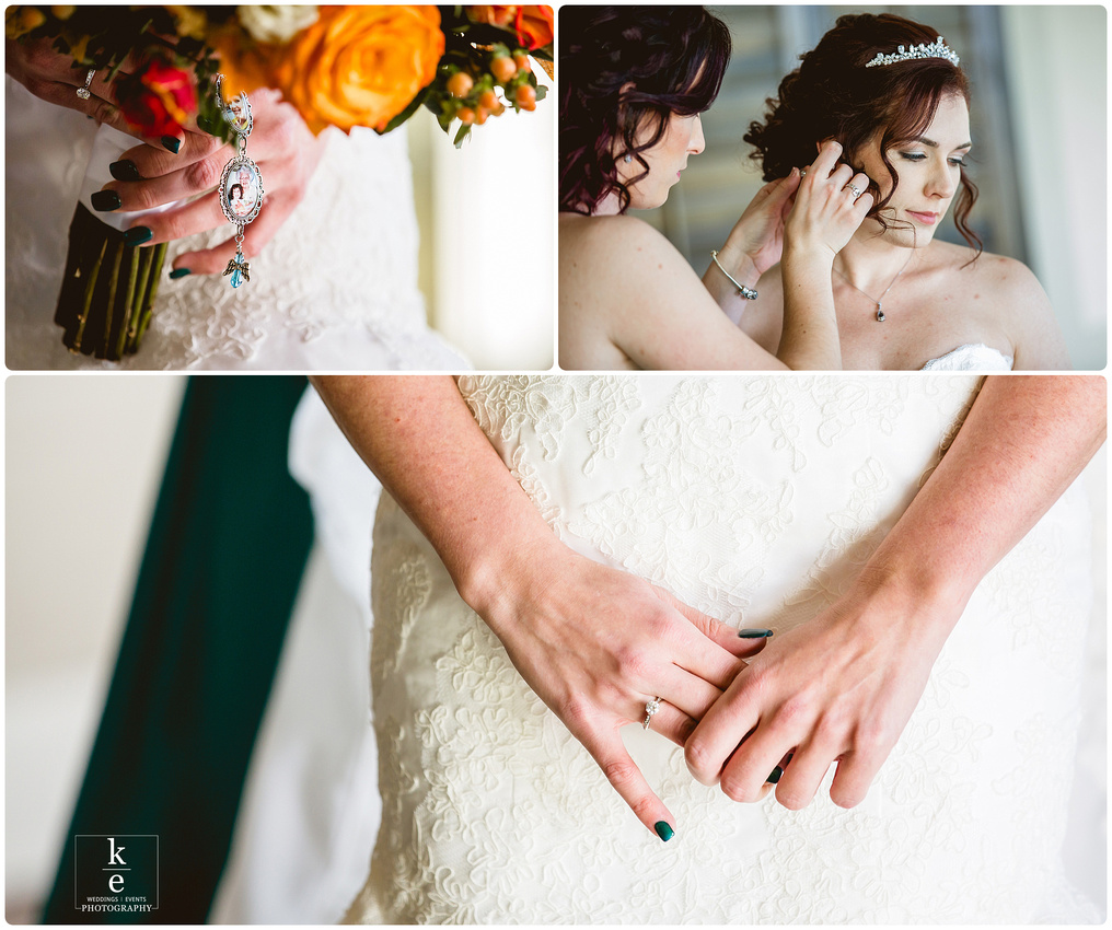 bridal details including flowers, close up of bride getting ready and her engagement ring.